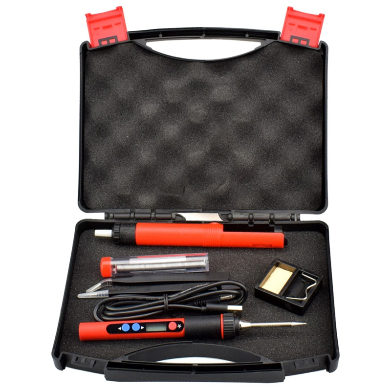 USB 5V 2A 10W Digital Temp Adjustable Soldering Iron Kit Portable Lead-Free Welding Rework Station with Switch Toolbox