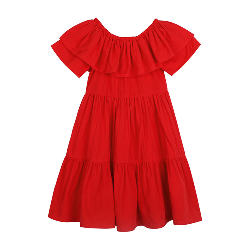 4 to 14T kids & big girls summer solid red off the shoulder ruffle cotton casual flare dress children fashion dresses clothes off the shoulder flare sleeve shirred blouse