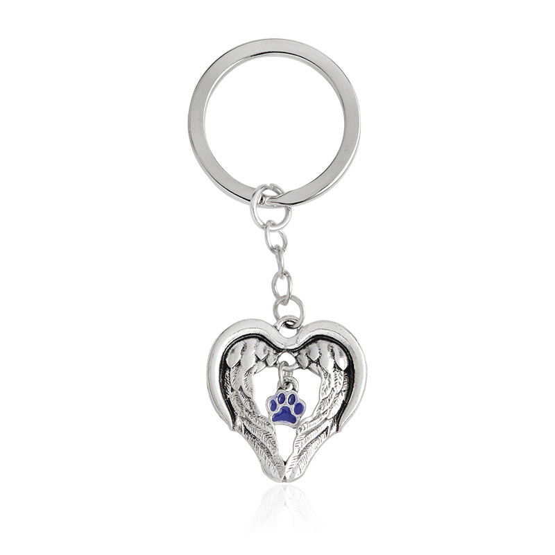 Wings of an Angel Purple Paw Keychain Keyring Dog Paw Colgante Collar para Mujeres Hombres Pet Animal Jewelry Blessing Gift