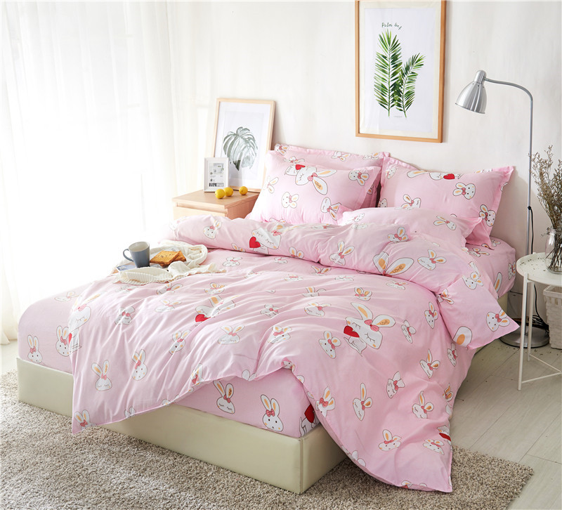 BEST.WENSD Family bedding set High quality super soft duvet cover Fitted Sheet pillowcase Princess Bed set Cute rabbit BedspreadBEST.WENSD Family bedding set High quality super soft duvet cover Fitted Sheet pillowcase Princess Bed set Cute rabbit Bedspread