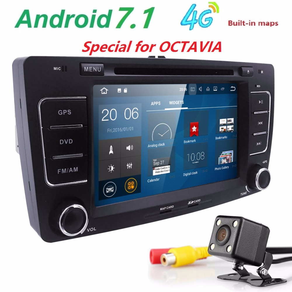 2din Android7.1 7inch CAR DVD Player for Skoda Octavia 2 A5 with 4G wifi CANBUS Octavia2 Bluetooth DAB+ OBD SWC RDS DVR DVBT CAM ...