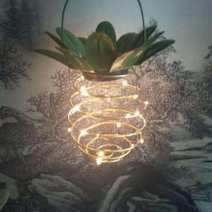 Image 4 - 2 szt. Na zewnątrz wodoodporny ogród ananas lampa słoneczna lampka ogrodowa wiszące lampki 20 panel słoneczny ciepły wróżka ciąg dekoracji