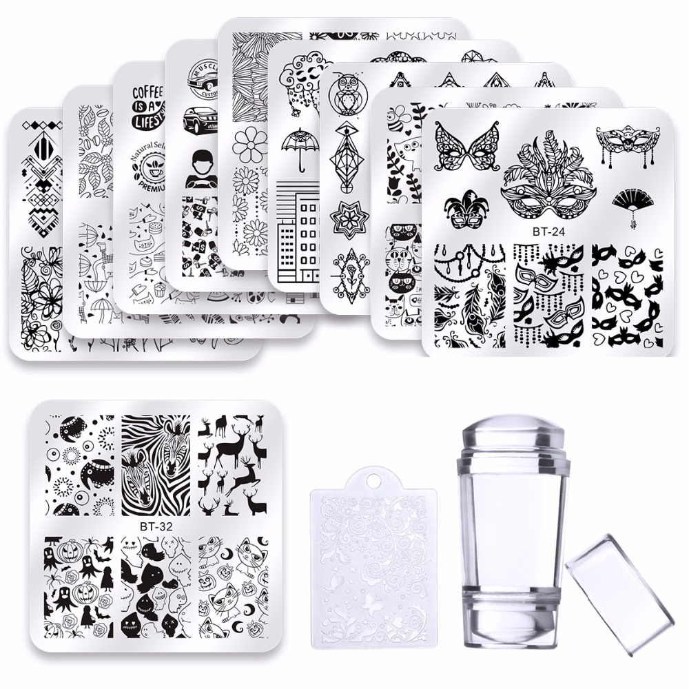 цена на 10 Pcs Nail Stamping Plates Kit Halloween Christmas Pattern Nail Art Stamp Template Flower Animal printing Nail Art Tool Sets