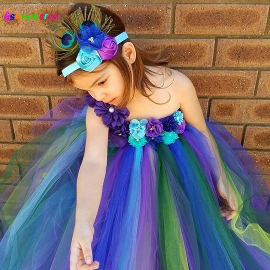 Elegantní páv Tutu šaty a květinové čelenky Dívky Baby Páv svatební Tutu šaty Dětské narozeninové kostýmy TS117