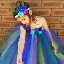Elegant Peacock Tutu Dress and Flower Headband Girls Baby Wedding Kids Birthday Party Costume TS117
