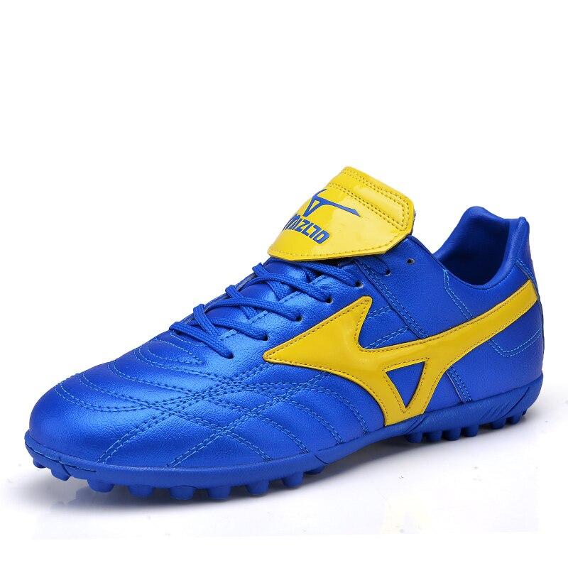 Football Shoes Men Women Soccer Cleats TF Chuteira Lightweight Botas Futbol Chuteiras Utdoor Sports Training Blue Football 8.5