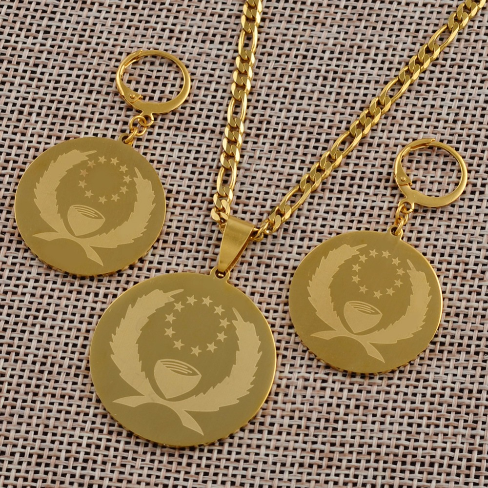Pohnpei Flag Pendant Necklace Earrings <font><b>sets</b></font> <font><b>for</b></font> <font><b>Women</b></font> Gold Color <font><b>Jewelry</b></font> <font><b>Stainless</b></font> <font><b>Steel</b></font> Ethnic Gifts #J0210 image