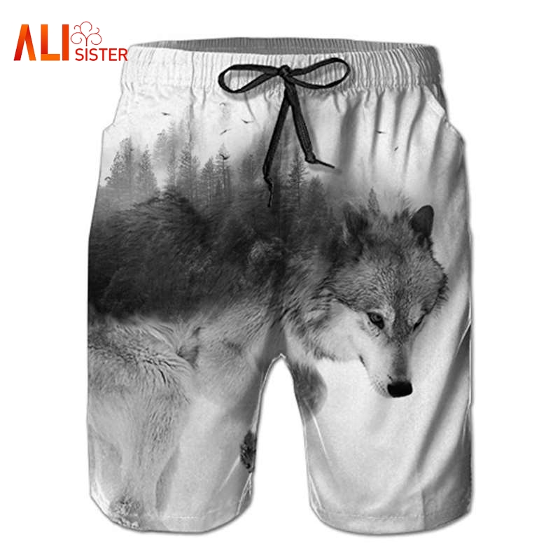 Beach Wear Summer   Board     Shorts   Casual Quick Drying Forest Wolf Anime Geometric Octopuc Printed   Shorts   Comfortable   Board     Shorts