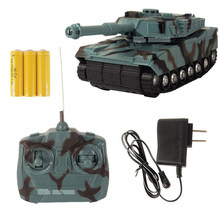 Abbyfrank RC Tank Battle Tank Model 1:22 360 Rotation Music LED Radio Remote Control Fighting Plastic Toy Crawler Tractor(China)