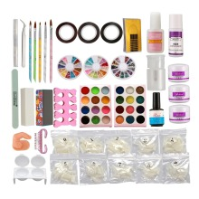 Anmas rucci Nail Art DIY Full Set Kit Acrylic Glitter Powder Primer Tips Brush Glue Dust #13
