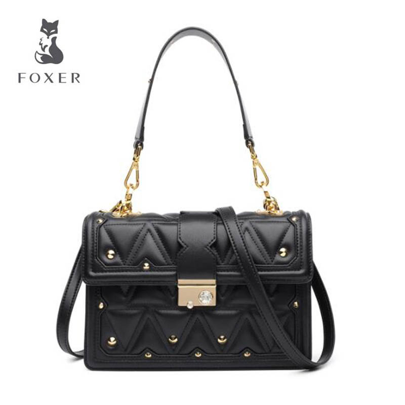 2018 New FOXER women leather bag fashion luxury Top cowhide women bags shoulder handbags designer shoulder Crossbody bags 2018 new fashion top handle bags women cowhide genuine leather handbags casual bucket bags women bags rivet shoulder bags 836