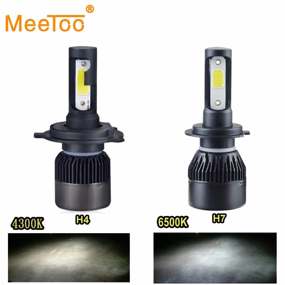 meetoo h7 led h4 auto headlight 4300k h1 h11 led car bulb 9005 9006meetoo h7 led h4 auto headlight 4300k h1 h11 led car bulb 9005 9006 72w 8000lm automobile headlights hb4 hb3 led light 12v 6500k