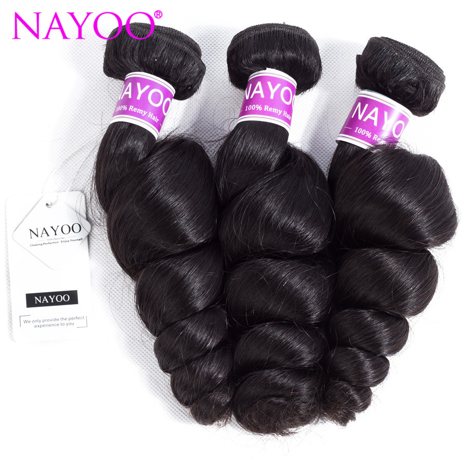 NAYOO Loose Wave Malaysia Hair Weave Bundles 100% Human Hair 3 Piece 8-26inch Remy Hair  ...