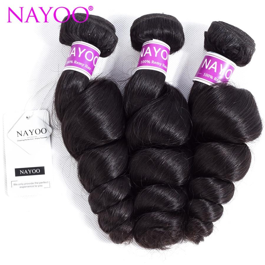 NAYOO Loose Wave Malaysia Hair Weave Bundles 100% Human Hair 3 Piece 8-26inch Remy Hair  ...