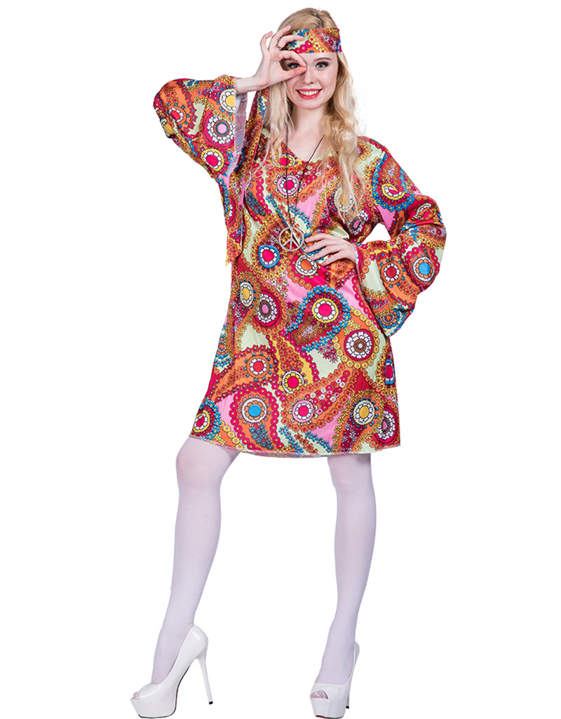 Adult women flower Retro Hippie Peace And Love Hippie Costume halloweren party cosplay disco costume Women Fancy Dress