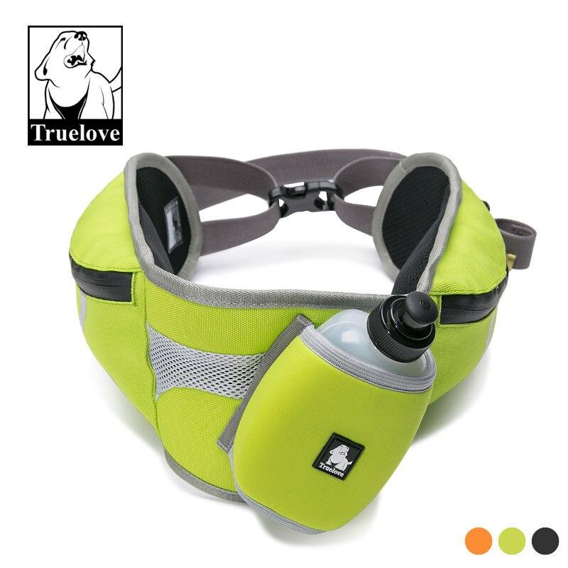 Truelove main libre chien Jogging ceinture ceinture réglable avec bouteille d'eau chien taille ceinture pour la course en plein air marche entraînement