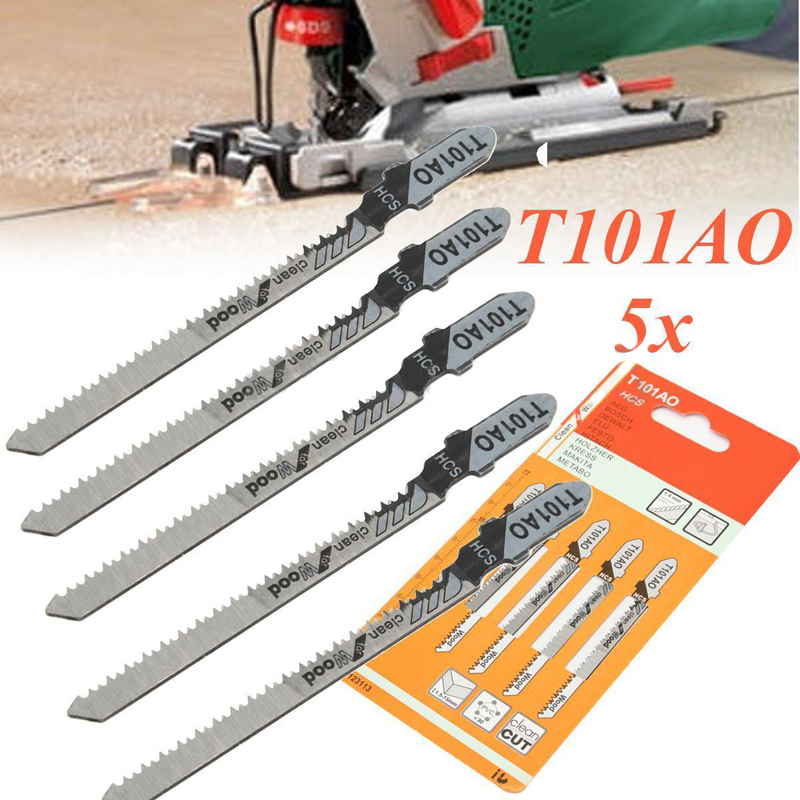 5pcs New T101AO Jigsaw Blades Set Clean Cut Wood Scroll Cutting Tool 1.5-15mm
