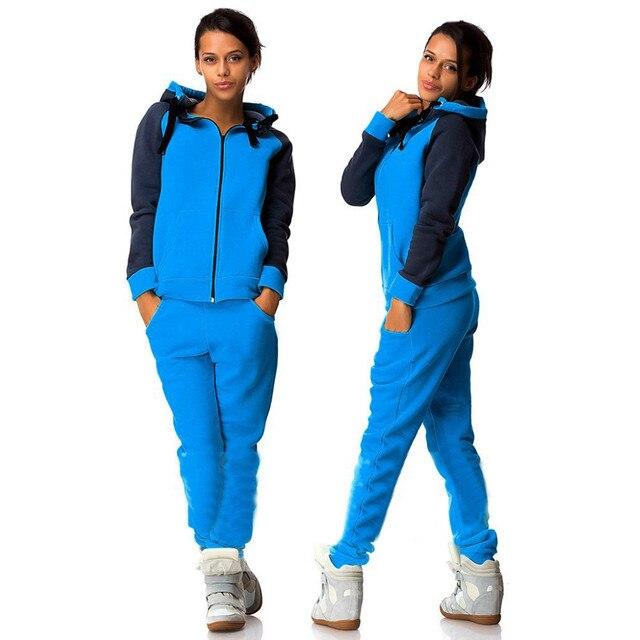 Fatos de treino das Mulheres 2017 Outono e Inverno As Mulheres Terno Longo-luva Azul Costura Zíper Sportswear Ocasional Mujer 2 Peça conjunto