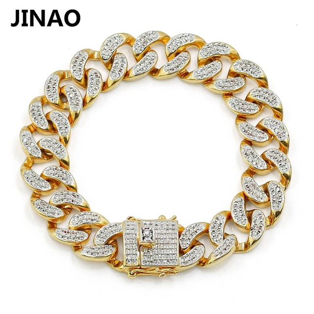 """JINAO Fashion Gold Color Plated Micro Pave Cubic Zircon Bracelet All Iced Out 7"""" 8"""" Length Cuban Chain Hip Hop Jewelry For Male"""