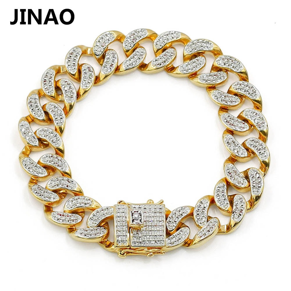 JINAO Neue Mode Gold Farbe Überzog Mikro Pflastern Cubic Zirkon Armband Alle Iced Out 8