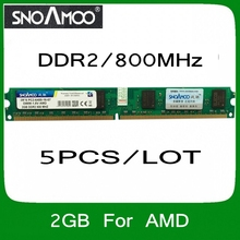 Wholesale 5PCS/LOT Brand RAMS DDR2 2GB 800MHz PC2-6400 Compatible with 667MHz 533MHz DIMM Memory For Desktop PC For AMD