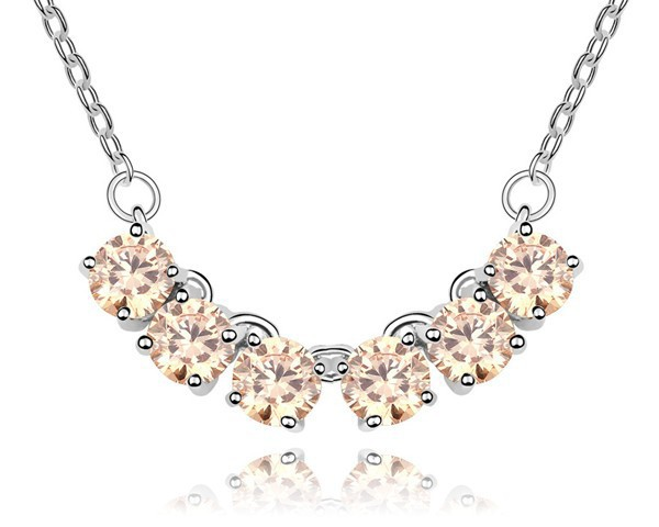 Champagne AAA Cubic Zirconia Pendant Necklace Chain Simple Design Unisex Fashion Jewelry White Gold Plated Women Men - MJSZ store Min. Order $ 10 USD