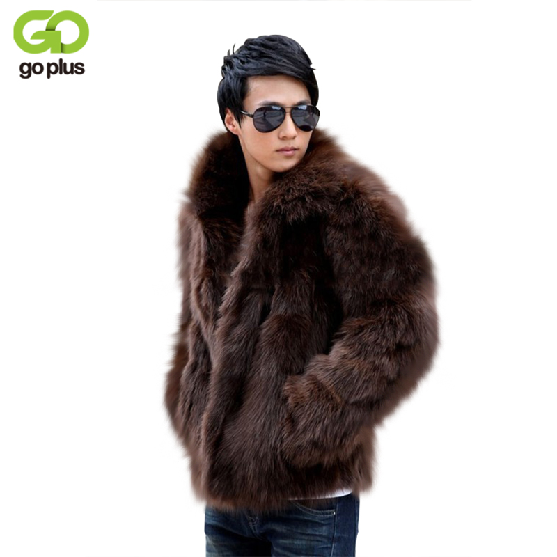 GOPLUS 2018 New Men's Winter Faux Fur Jackets Black White Brown Fox Thick Warm Fashion Man Luxury Leahter Fur Coat C2042 globe panther golden brown fur