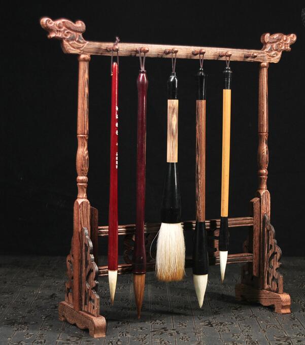 Brush Hanger Wooden Rack Painting Calligraphy Sumi-e Penholder Tool 12 Hooks