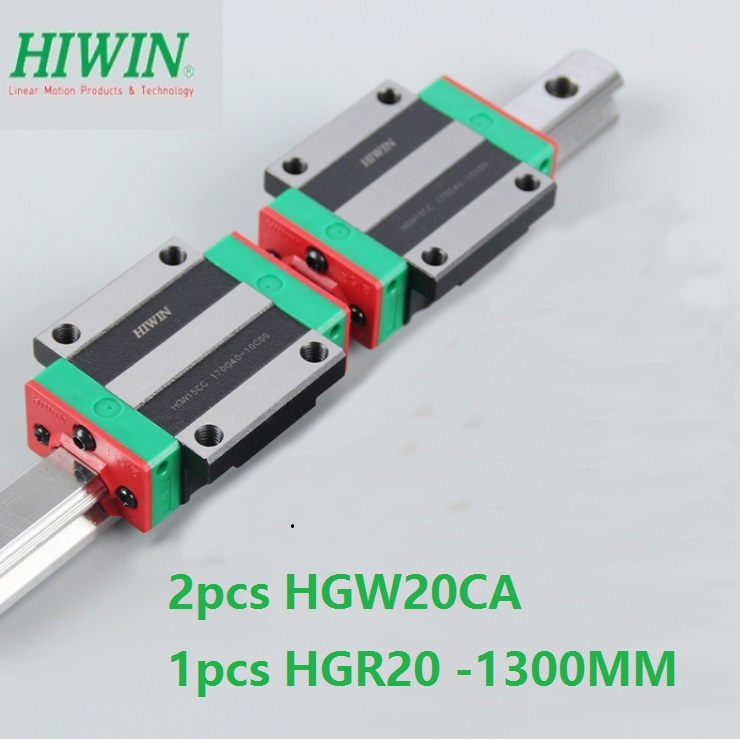 1pcs 100 original Hiwin linear rail linear guide HGR20 L 1300mm 2pcs HGW20CA HGW20CC flange block