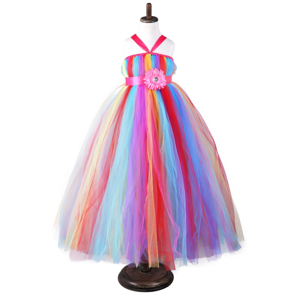 Rainbow Nylon Mesh Tulle Tutu Princess Dress for Girls Kids Birthday Party Dress Girl Dresses Kids Long Fluffy Evening Dress 12Y