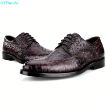 Genuine Leather Formal Crocodile Pattern Men Dress Shoes High Quality Italian Handmade Luxury Designers Vintage