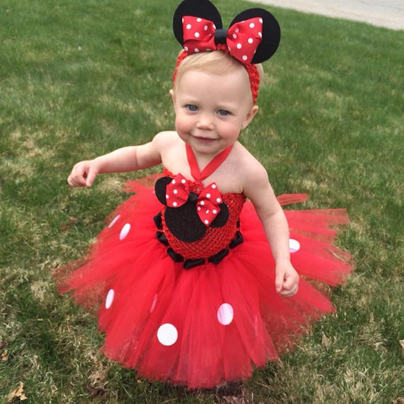 Veshjet e reja të foshnjës për ditëlindje Tutu fustan klasik Mouse, vizatim klasik Mouse, e frymëzuar Toddle Foshnja e porsalindur për fustanet e topit për ditëlindjen për 0-2T