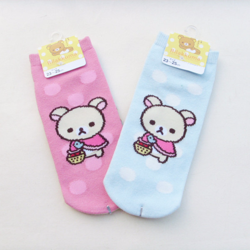 Cartoon Rilakkuma Printed Socks Korilakkuma Cute Funny Novelty Women Cotton Sock Soft Comfort Summer Calcetines Mujer Divertido A Plastic Case Is Compartmentalized For Safe Storage Women's Socks & Hosiery