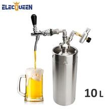 المنزل تختمر الفولاذ المقاوم للصدأ برميل صغير 10L برميل البيرة الخشبي جودة عالية الضغط صغير هدير ، برميل هدير مجموعة مع صنبور البيرة الحنفية