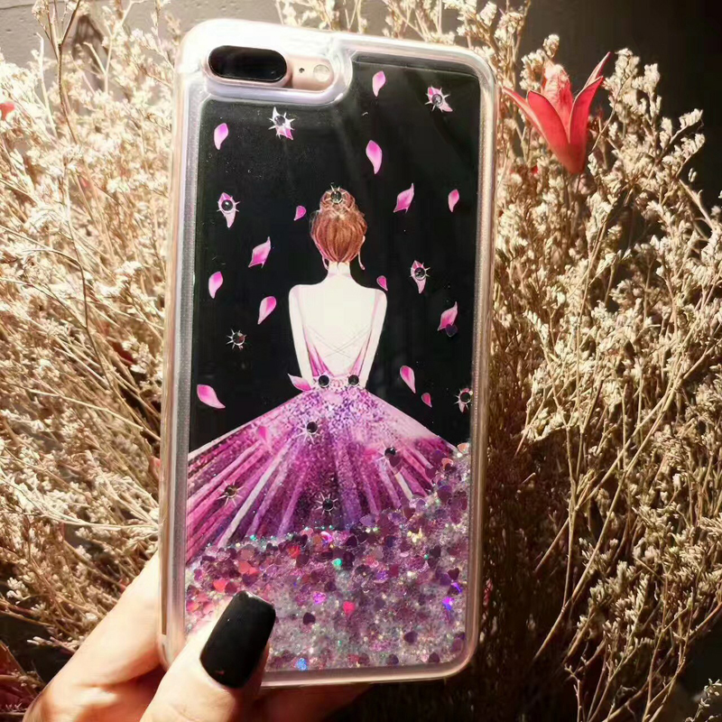 For iphone 6s 6G 6plus silicone back cover case Dynamic Liquid Glitter Sand Quicksand cover For iPhone 7G 7Plus case girl