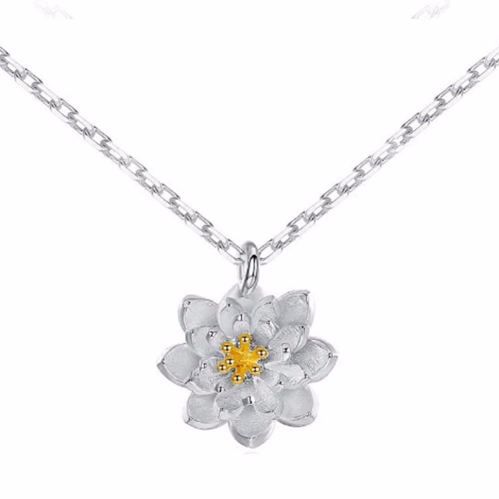 Lotus flower necklace cute blooming flower silver plated chain lotus flower necklace cute blooming flower silver plated chain pendant necklaces wedding party jewelry in pendant necklaces from jewelry accessories on izmirmasajfo