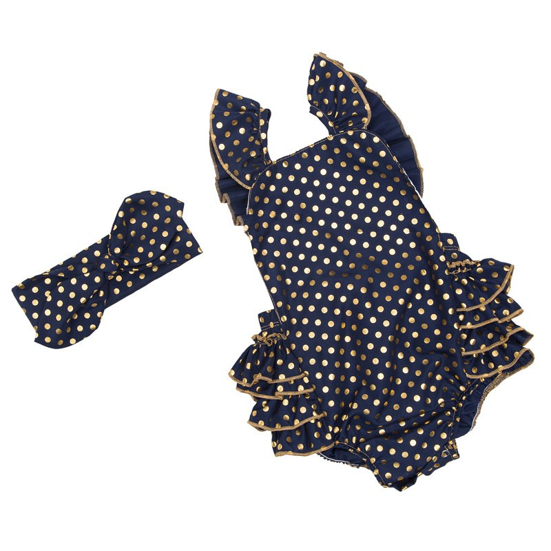 Infant Gold Polka Dot Ruffle Rompers (4)