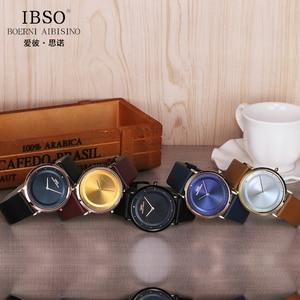 Image 4 - IBSO 7MM montres à Quartz Ultra mince bracelet en cuir véritable montres pour hommes montre de luxe pour hommes Relogio Masculino