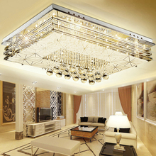 LED living room lamp modern simple ceiling lamp rectangular crystal lamp fashion atmospheric lighting fixtures modern minimalist golden led circular living room crystal lamp creative lamps atmospheric luxury hall ceiling lighting fixture