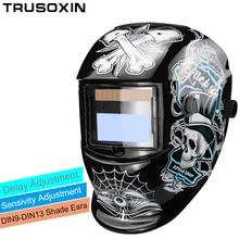 купить DIN9-DIN13 Solar Auto Darkening TIG MMA ZX7 MIG Welding Mask Welding Helmet Welder Cap Glasses онлайн