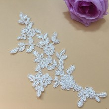 купить 10Pieces Lace Applique Embroidered Venise Floral Neckline Neck Collar Trim Clothes Sewing Lace Fabric For Wedding Dresses онлайн