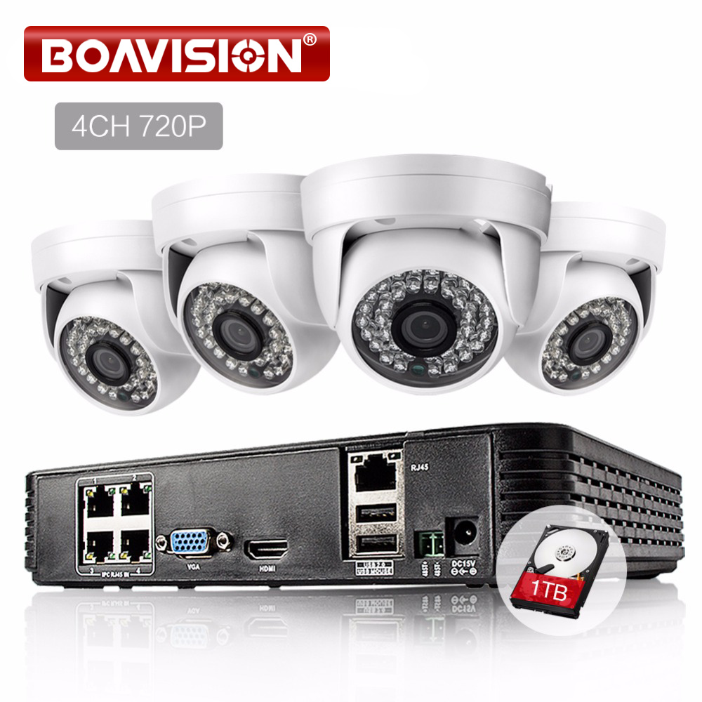 BOAVISION 4CH 1080P POE NVR HD CCTV System Set 4PCS 720P IP Camera IR 20M Night Vision Security Surveillance Kit 1TB HDD hbss 4ch 1 0m hd 2tb hdd poe ip66 waterproof motion detection 1280 720p ir night vision outdoor mult lang surveillance system