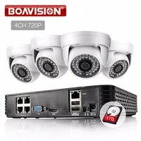 BOAVISION 4CH 1080P POE NVR HD CCTV System Set 4PCS 720P IP Camera IR 20M Night