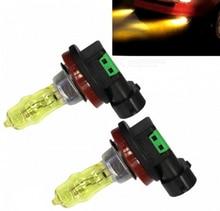2Pcs H11 12V 100W 3000K 2400LM Yellow Light Car Halogen Headlamps for free transportation h3 100w 2200lm 3000k yellow light halogen lamp bulbs for car dc 12v pair