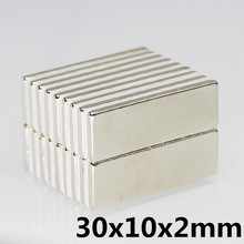 10pcs 30 x 10 x 2 mm N35 Super Strong Small 30*10*2mm Neodymium Magnets Rare Earth Powerful Magnet hot sale 20pcs 30 x 30 x 5 mm n52 super strong powerful rare earth block magnets neodymium magnet 30 30 5mm free shipping