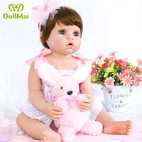 Adorable girl toddler baby alive dolls 2256cm full silicone vinyl reborn baby dolls realistic newborn babies dolls Bebes reborn
