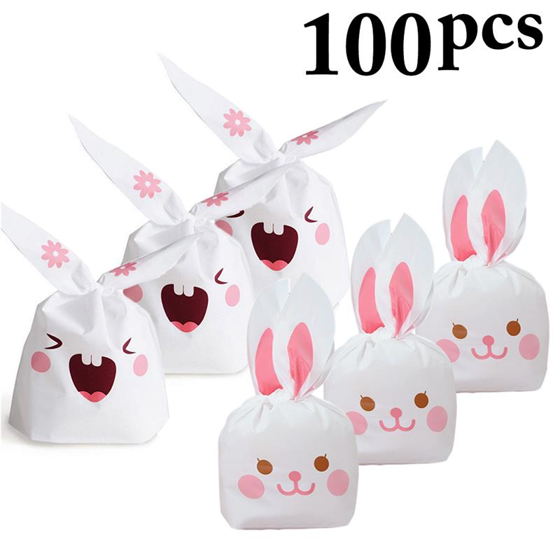 50pcs Cute Long Bunny Rabbit Ear Gift Bag Easter Candy Gift Plastic Party Favors
