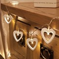 10 Warm White String Light LED String Operated Wooden Heart Fairy Xmas Wedding Decor Christmas Tree Decoration