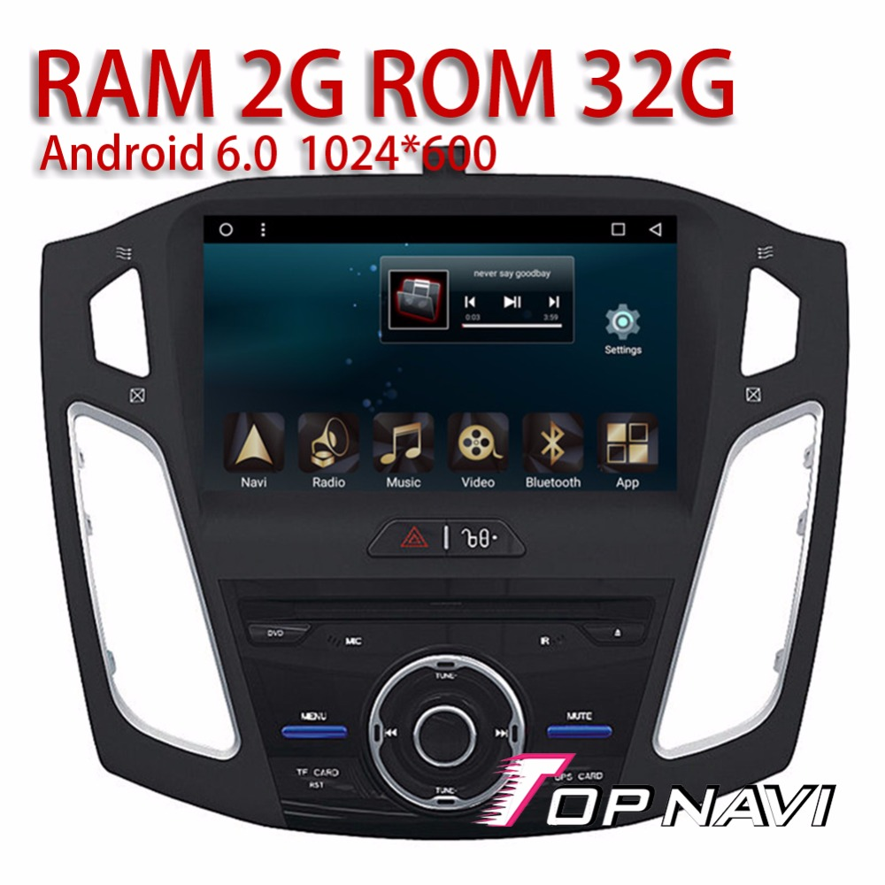 Car Players for Ford Focus 2012 2013 2014 2015 9 Android 6.0 Topnavi Auto Media Video Players with Microphone Support DVR