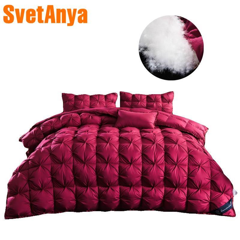 3D роскошное красное стеганое одеяло с каймой, плотное зимнее стеганое одеяло, хлопок, белый утиный гусиный пух, наполнитель, одеяло для королевы, большого размера